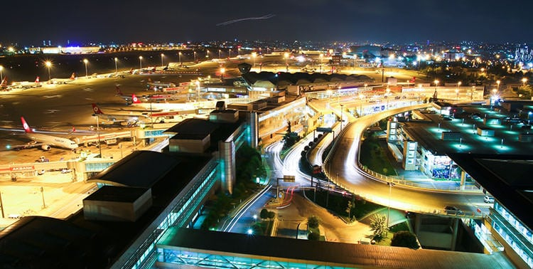 Picture of Atatürk International Airport by night.