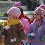 Picture of kids doing sightseeing in Istanbul.