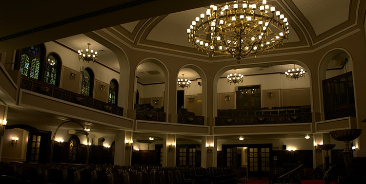 Picture taken inside the Neve Shalom Synagogue in Istanbul, Turkey