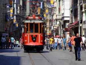 Picture of the nostalgic tram running on Istiklal Caddesi in Istanbul, Turkey.