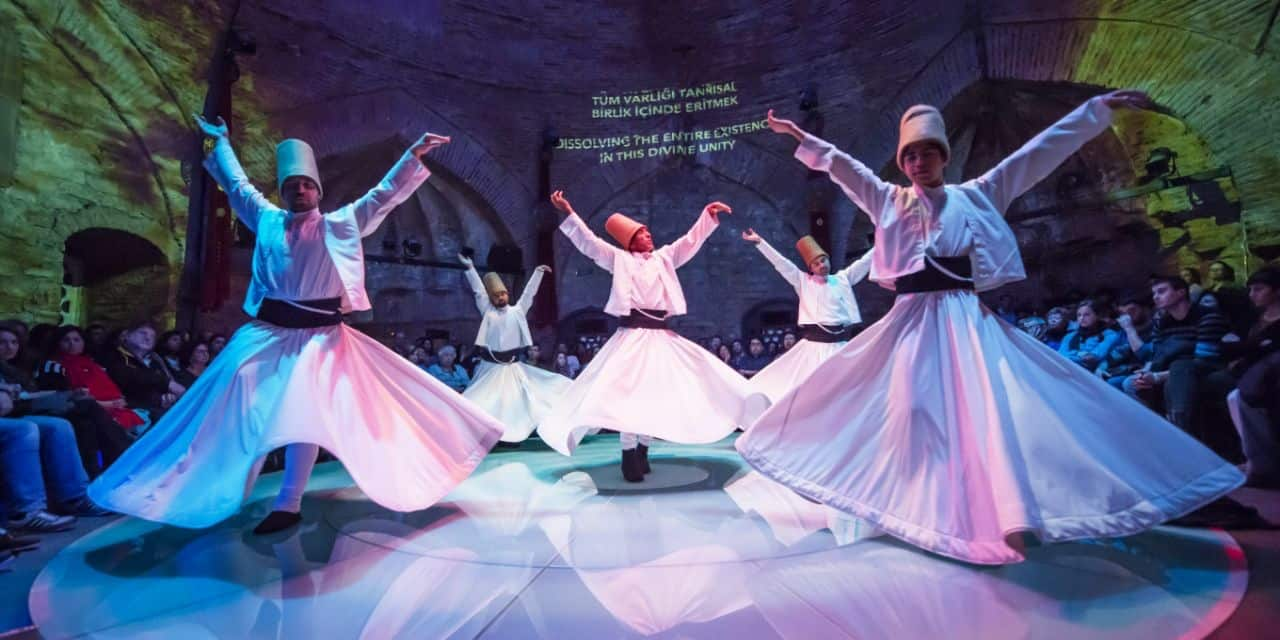 Image of a whirling dervishes performance in Istanbul, Turkey.
