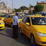 Picture of a typical yellow taxis in Istanbul, Turkey.