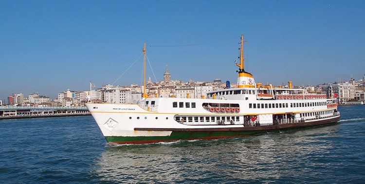 Image of a ferry cruising on a Bosphorus tour in Istanbul, Turkey.