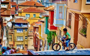 Picture of a street in Balata, Istanbul.