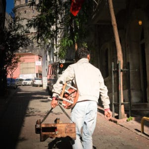 Picture of mobile shoe shine in Istanbul, Turkey.