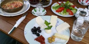 Picture of a typical Turkish breakfast plate in Istanbul, Turkey