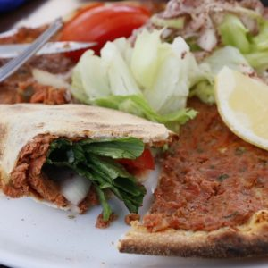 Picture of lahmacun, a pizza like dish in Istanbul, Turkey.