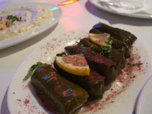 Picture of wrapped vine leaves (yaprak sarma) in Istanbul, Turkey.