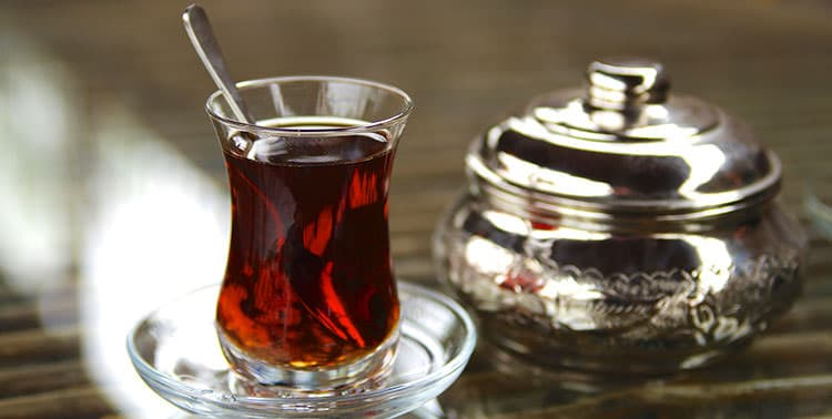 Picture of a typical Turkish tea glass, served in Istanbul, Turkey.