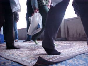 No shoes allowed in a mosque in Istanbul, Turkey.