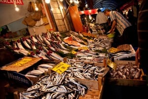 Picture of fresh fish on display at the market in Istanbul.