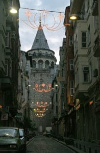 Picture of small streets leading to Galata Tower in Istanbul, Turkey.