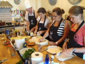 Making flaky pastry at Turkish Flavours cooking class in Istanbul, Turkey.