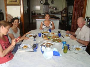 Finally, eating the lunch we prepared at Turkish Flavours cooking class in Istanbul, Turkey.