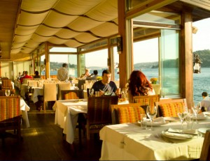 Picture of terrace of Uskumru fish restaurant in Istasnbul, Turkey.