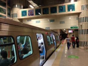 Picture of metro train in Yenikapi station, Istanbul.