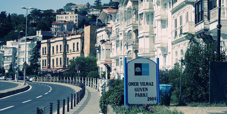 Picture of road by the Bosphorus in Bebek, Istanbul.