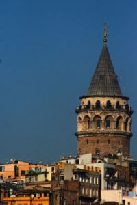 Picture of the top part of Galata Tower in Istanbul, Turkey.