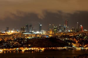 Night view of Istanbul, with Taksim, Nişantaşı and Şişli.