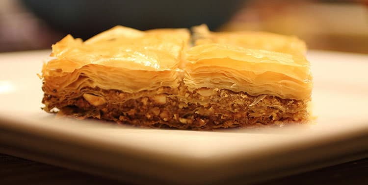 Picture of baklava, maybe the most famous Turkish dessert.