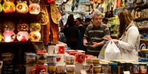 Bargaining at the Grand Bazaar in Istanbul, Turkey.