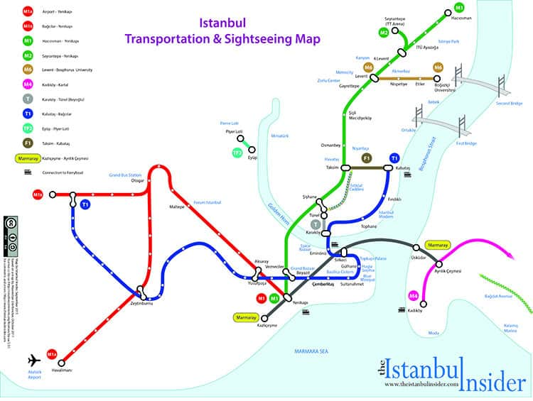 Istanbul Transportation Map With Places of Interest - Istanbul Insider -