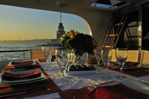 Sunset dinner during private Bosphorus cruise.
