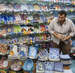 Picture of seller at Grand Bazaar in Istanbul, Turkey.
