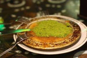 A picture of Künefe, a Turkish dessert.