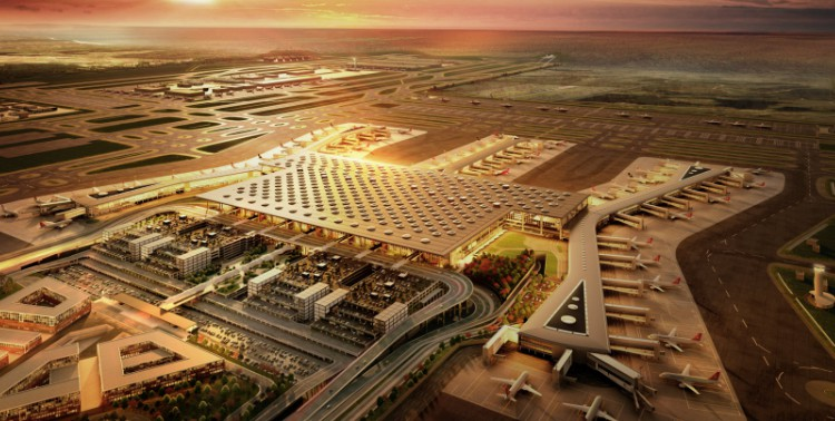 Aerial view of the new Istanbul Airport in Arnavutköy.