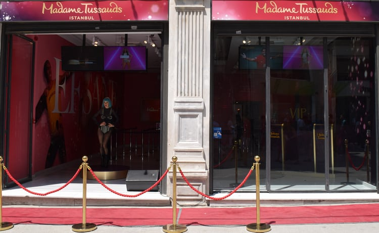 Red carpet at entrace of Madame Tussauds Istanbul.