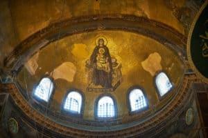Inside the Hagia Sophia, Istanbul.