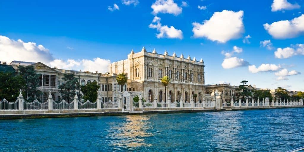 Dolmahaçe Palace seen from the Bosphorus in Istanbul, Turkey.