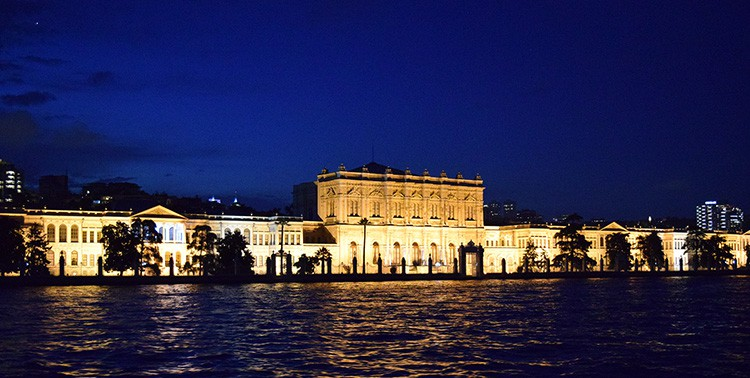Dolmahaçe Palace by night seen from the Bosphorus