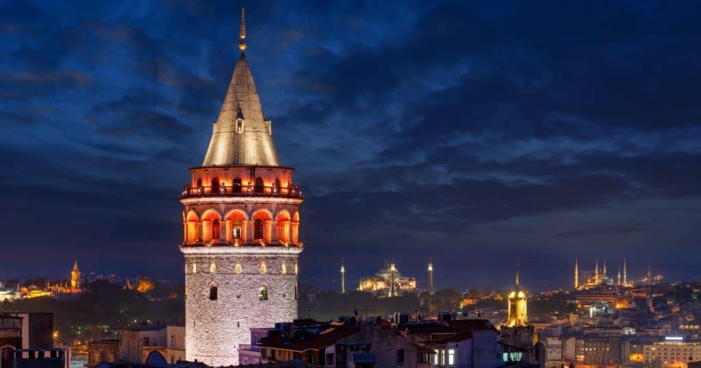 Galata tower by night in Istanbul, Turkey.
