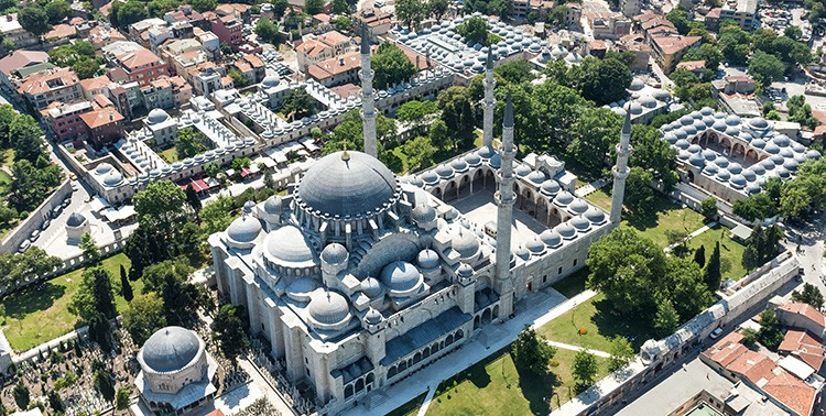 Aerial view of the Süleymaniye Mosque in Istanbul