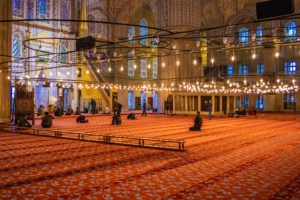 Interior of the Blue Mosque with Iznik tiles.