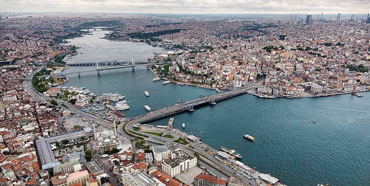 Aerial view of Golden Horn in Istanbul