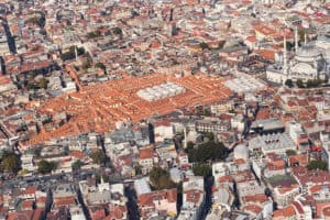 Aerial view of the Grand Bazaar in Istanbul
