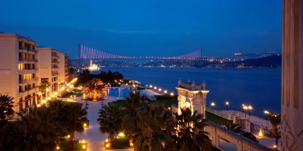 View of Bosphorus Bridge from Kempenski Hotel in Istanbul
