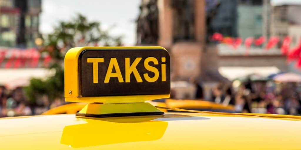 Image of taxi sign on a cab in Istanbul, Turkey.